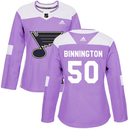 Jordan Binnington St. Louis Blues Women's Authentic Hockey Fights Cancer Adidas Jersey - Purple