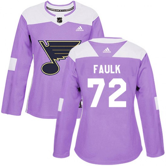Justin Faulk St. Louis Blues Women's Authentic Hockey Fights Cancer Adidas Jersey - Purple