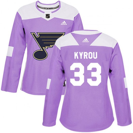 Jordan Kyrou St. Louis Blues Women's Authentic Hockey Fights Cancer Adidas Jersey - Purple