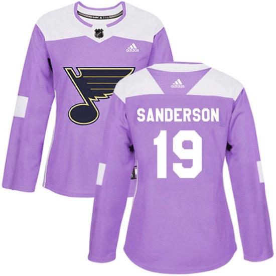 Derek Sanderson St. Louis Blues Women's Authentic Hockey Fights Cancer Adidas Jersey - Purple