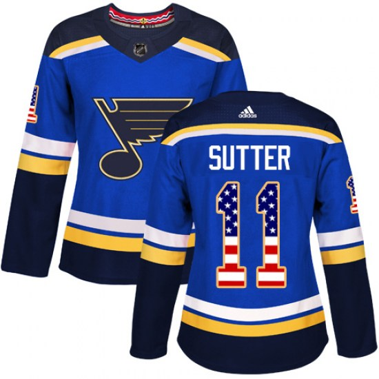 Brian Sutter St. Louis Blues Women's Authentic USA Flag Fashion Adidas Jersey - Blue