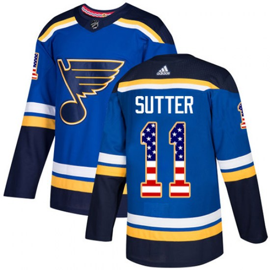 Brian Sutter St. Louis Blues Youth Authentic USA Flag Fashion Adidas Jersey - Blue