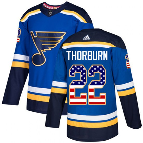 Chris Thorburn St. Louis Blues Authentic USA Flag Fashion Adidas Jersey - Blue