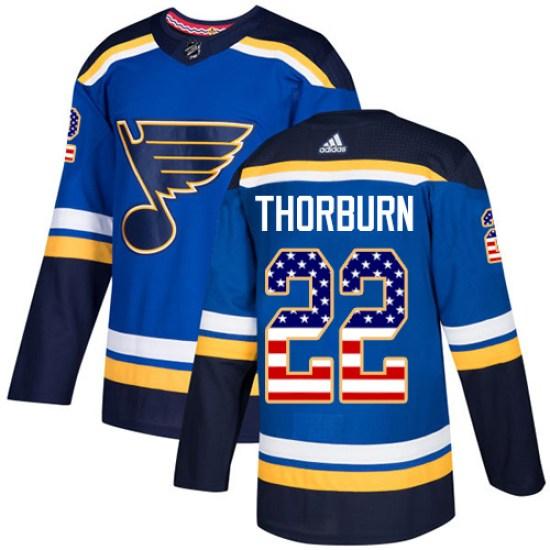 Chris Thorburn St. Louis Blues Youth Authentic USA Flag Fashion Adidas Jersey - Blue