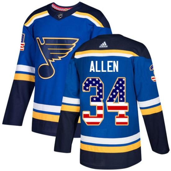 Jake Allen St. Louis Blues Authentic USA Flag Fashion Adidas Jersey - Blue