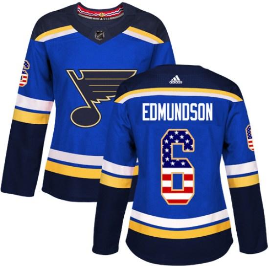 Joel Edmundson St. Louis Blues Women's Authentic USA Flag Fashion Adidas Jersey - Blue