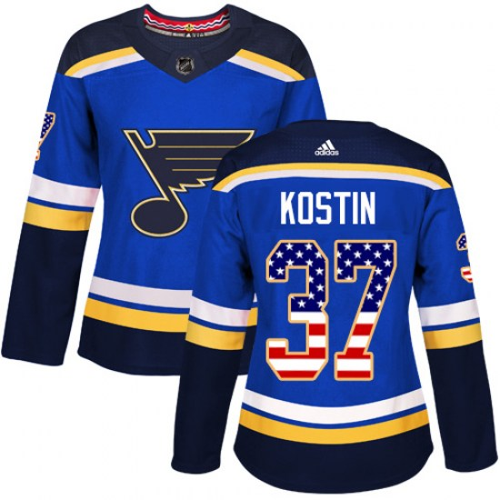 Klim Kostin St. Louis Blues Women's Authentic USA Flag Fashion Adidas Jersey - Blue