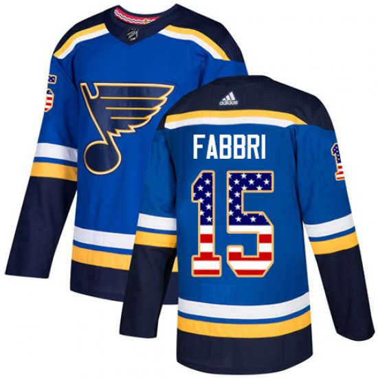 Robby Fabbri St. Louis Blues Authentic USA Flag Fashion Adidas Jersey - Blue